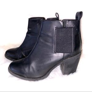 Divided H&M Black Round Toe Booties Size 8